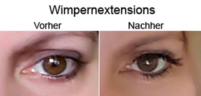 Wimperextensions vorher nachher - Lange Wimpern